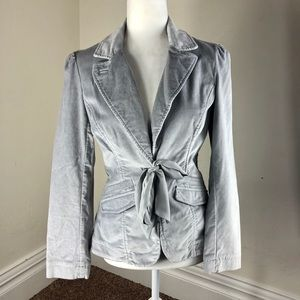 WHBM Gray Velvet Tailored Blazer Jacket  Size 2